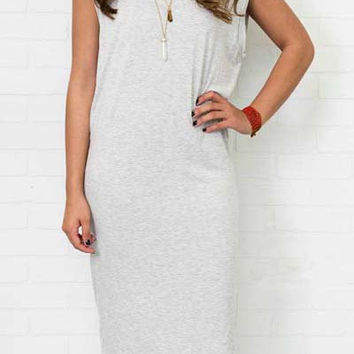 Gray Sleeveless Cut Out Dress