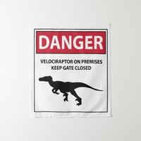 Danger Sign (Raptors) Tapestry