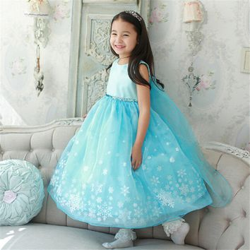 Baby Girls Clothes Elsa Wedding Party Long Dress Anna Sequins Snowflake Princess Tutu Dress Infantil Vestido Roupa for Children