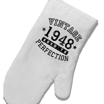 70th Birthday Vintage Birth Year 1948 White Printed Fabric Oven Mitt by TooLoud