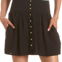 Button-Down Challis Skirt: Charlotte Russe
