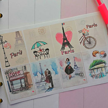 Paris Background Planner Sticker Set for Erin Condren Filofax and more