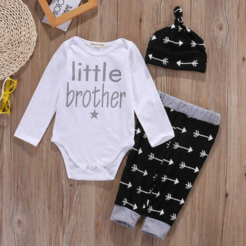 Toddler Baby Boys Romper Tops +Long Pants Hat 3PCS Outfits Set Clothes Pajamas