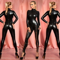 Women's Sexy Hollow Out Rivet Latex Leather Catsuit Wet Look Shiny fancy Costume jumpsuit