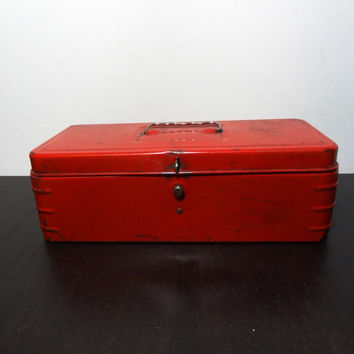 Vintage Rustic/Industrial Red Metal Box for Tackle, Tool, or Garden, Storage or Organization