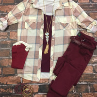 Test of Time Plaid Top: Burgundy