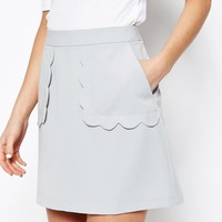 ASOS A-Line Skirt with Scallop Pockets