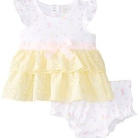 kyle & deena Baby-Girls Newborn Eyelet Ruffle Dress with Printed Knit Top and Diaper Panty, Yellow, 0-3 Months