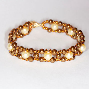 Golden glass pearl bracelet Handmade glass pearl bracelet Handmade golden glass pearls bracelet Golden beaded bracelet Glass pearl jewelry