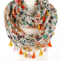 Floral Medley Tassel Infinity Scarf - Beige/Coral or Beige/Turquoise
