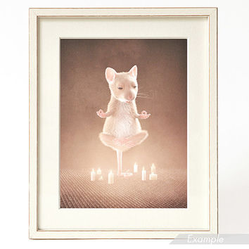 YOGA MOUSE: ART print  / wall art / wall decor / flying yoga mouse with candles / animal art