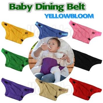 VONEGQ Baby Dining Belt Portable Infant Chair Seat Product Stretch Wrap Safty Cotton Belt Harness Baby Carrier