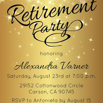 Retirement Party Invitation - Gold Sparkly Printable Invite