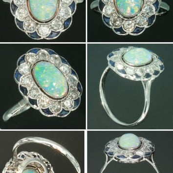 Cabochon Opal Ring - Blue sapphire brilliant cut diamond 0.9ct platinum Vintage statement ring 1920s ref.12241-0076
