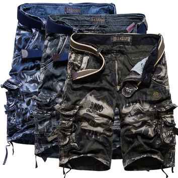 Shorts Mens Bermuda Short Camouflage Printing Men Homme Multi-Pocket Cargo Shorts Leisure Loose DWEF