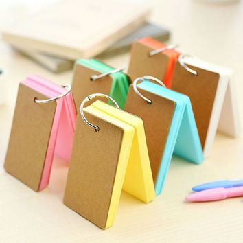 DCCKL72 Korean Creative Candy Color Buckle Binder Notes Portable Flash Cards Memo Pads Cute Stationery DIY Blank Card