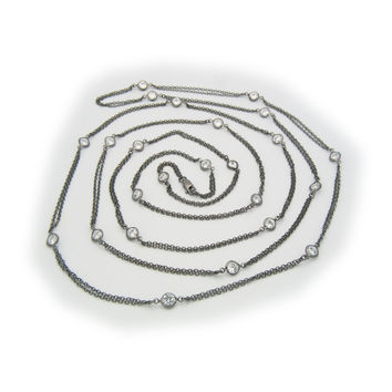 """Fronay Collection Black Rhodium Silver CZ by the Yard Necklace, 60"""""""