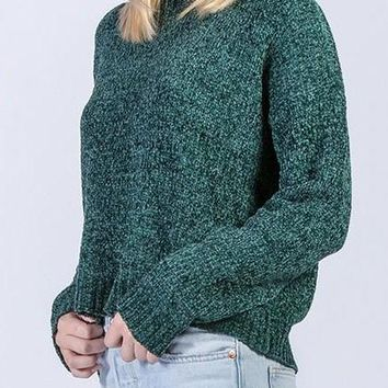 Brie Chenille Sweater in Forest Green