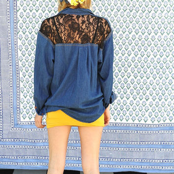lace backed denim shirt by napkinitems on Etsy