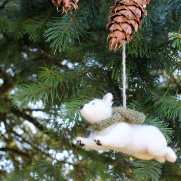 Polar Bear Ornament: Flying Polar Bear Wearing a Scarf