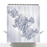 Coastal Decor Shower Curtain - Illustrated Lion fish blue , unique, indigo , chic, decor, home