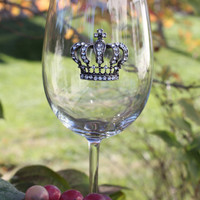 Rhinestone Embellished Crown Personalized Wine Glass, Personalized Bridesmaids Gifts