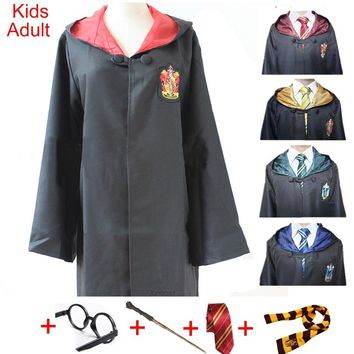 For Harris Potter Costume Clothes Robe Cloak with Tie Scarf Wand Glasses Ravenclaw Gryffindor Hufflepuff Slytherin Cosplay