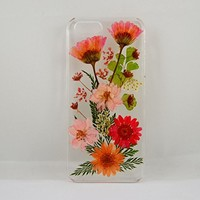 Uokwiwi™ Mixed Red Daisy Pink Larkspur and Leaf Garden Real Dried Pressed Flowers Case for Iphone 5/5s