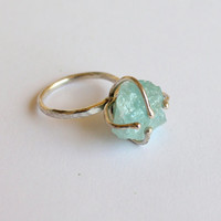 Raw Aquamarine Sterling Silver Ring  Mermaid's by meltemsem