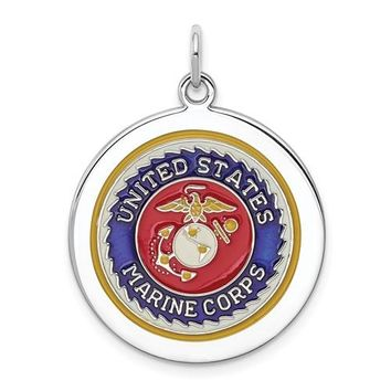 Sterling Silver US Marine Corps Disc