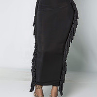 CONFIDENT Black iAMMI Fringe Skirt