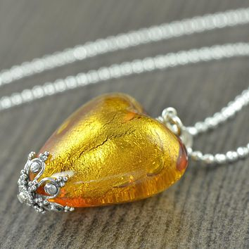 Yellow Murano Glass Heart Necklace, November birthstone, Topaz