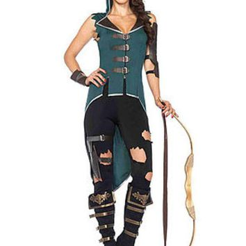 DCCKLP2 The 5PC. Rebel Robin Hood, Hooded Top, Leggings, Arm/Wrist Cuffs, Garter in Black and Green