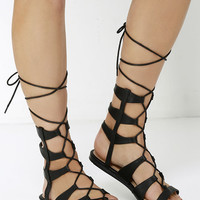 World Away Black Lace-Up Gladiator Sandals