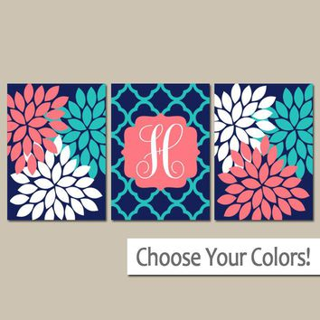 Monogram Wall Art, Coral Navy Turquoise Baby Girl Nursery Wall Art, Girl Bedroom Pictures, CANVAS or Prints Girl Nursery Decor  Set of 3