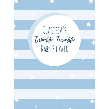 Custom Twinkle Twinkle Stars and Moon Baby Shower Backdrop (Any Color) Background - C0279