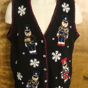 Teddy Bear Nutcracker Funny Ugly Sweater Vest for a Christmas Party