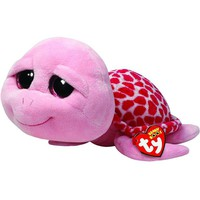 "Pyoopeo Ty Beanie Boos 6"" 15cm Shellby Pink Turtle Plush Regular Soft Big-eyed Stuffed Animal Collection Doll Toy with Heart Tag"