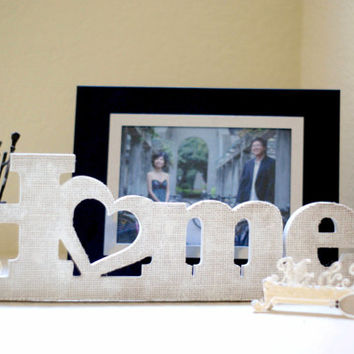 Home Wooden Sign with Burlap, stand free wood sign