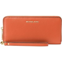 NWT Michael Kors Mercer Zip Around Travel Continental Wallet Orange MSRP $168