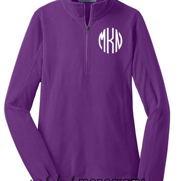 Monogrammed Microfleece Quarter Zip | AMETHYST PURPLE Pullover | Preppy Women's Ladies' Half Zip Fleece  | 6 Colors | Mad About Monograms