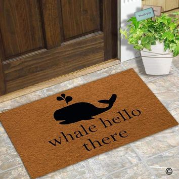 Autumn Fall welcome door mat doormat  Entrance Floor Mat Funny  Whale Hello There Non-slip  30 inch by 18 inch AT_76_7
