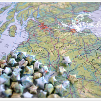 Upcycled Map Origami Lucky Stars, Table Confetti, Bon Voyage Gift, Decoration, Mixed Locations, Worldwide, Wedding Favour Honeymoon Keepsake