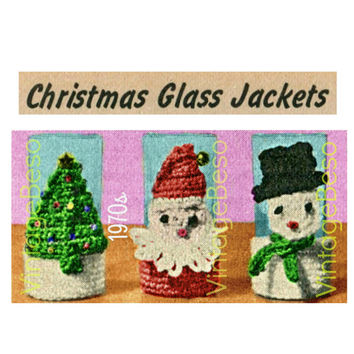 Instant Download - Christmas Glass Jackets - 1970s Vintage Crochet PATTERN - Holiday Party Supply - Xmas Tree Santa Snowman - PDF Pattern
