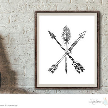 Printable Art Arrow art prints Minimalist Wall Art Home Decor Rustic Art Print Zen art printable digital art 3 arrows art tribal arrow art