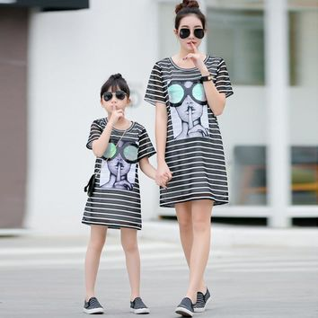 Hot Authentic 2016 Mom and Daughter Dress Long Summer Vacation Dresses Family Beach Dress Girls & Women Dress Free shopping 3XL
