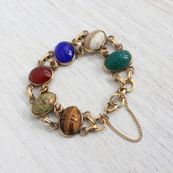 Vintage Scarab Bracelet - Mid Century 12K Yellow Gold Filled Over Egyptian Revival Jewelry / Semi Precious Oval Stone Beetles