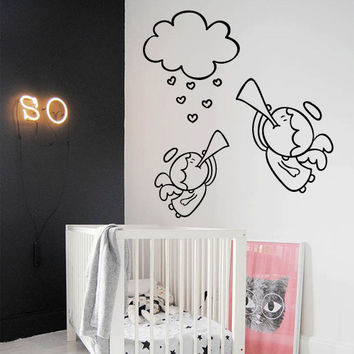 Wall Decor Vinyl Sticker Room Decal Angel Nursery Kid Baby Child Wings Music Trumpet Melody Cute Nice  (s200)