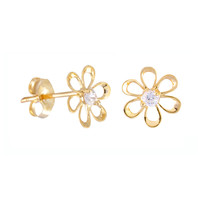 10k Gold Stud Earrings Daisy Flower Petite Womens Earrings - 7mm