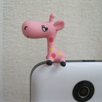Cute Giraffe Phone Anti-Dust Plug.Blue/Pink/Green.3.5mm Cell Phone Plug iPhone 4 4S 5 5S Dust Plug Samsung Charm Headphone Jack Ear Cap